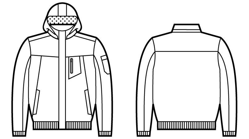 自重堂 48480 メガヒート防寒ブルゾン(フード付・取り外し可能) ハンガーイラスト・線画