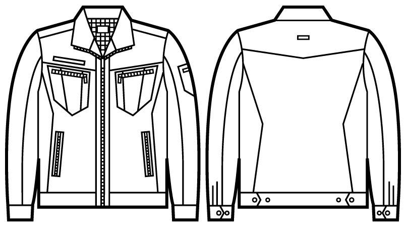 自重堂JAWIN 51800 長袖ジャンパー(新庄モデル) ハンガーイラスト・線画