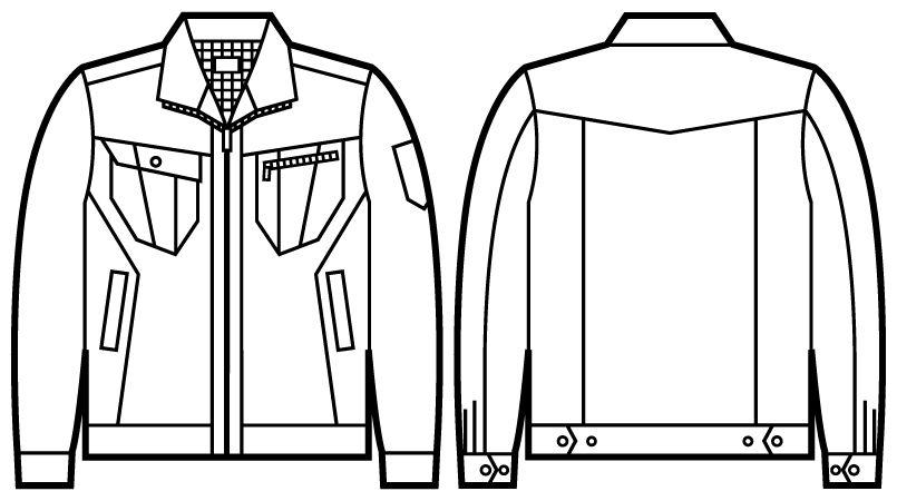 自重堂 51900 [秋冬用]JAWIN 長袖ジャンパー(綿100%) ハンガーイラスト・線画