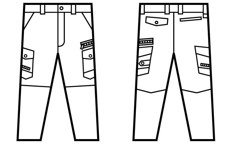 52102 自重堂JAWIN ノータックカーゴパンツ(新庄モデル) 裾上げNG ハンガーイラスト・線画