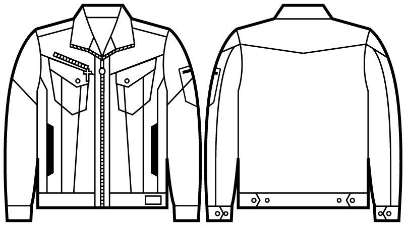 自重堂 52400 JAWIN 長袖ジャンパー(新庄モデル) ハンガーイラスト・線画