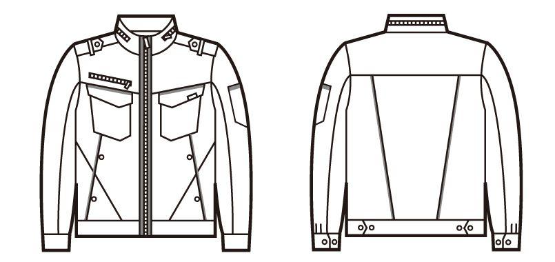 自重堂JAWIN 52600 ストレッチ長袖ジャンパー ハンガーイラスト・線画