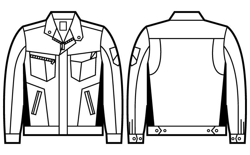 71500 自重堂Z-DRAGON 製品制電ツイル長袖ジャンパー ハンガーイラスト・線画