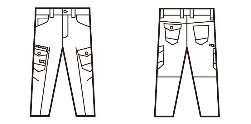 自重堂 71602 Z-DRAGON ストレッチデニムノータックカーゴパンツ ハンガーイラスト・線画