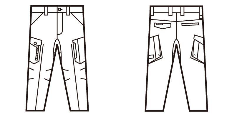 自重堂Z-DRAGON 71702 ストレッチノータックカーゴパンツ フルハーネス対応 ハンガーイラスト・線画