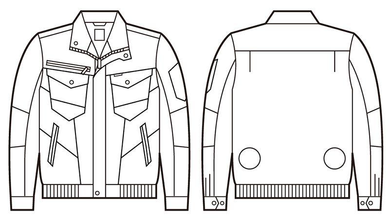 自重堂 74000 [春夏用]Z-DRAGON 空調服 綿100% 長袖ブルゾン ハンガーイラスト・線画