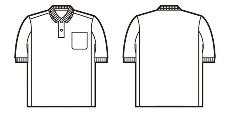 自重堂 84984 製品制電吸汗速乾半袖ポロシャツ(胸ポケット有り)(JIS T8118適合) ハンガーイラスト・線画