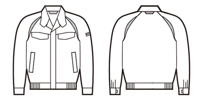 自重堂 85100 [春夏用]エコ製品制電長袖ブルゾン(JIS T8118適合) ハンガーイラスト・線画
