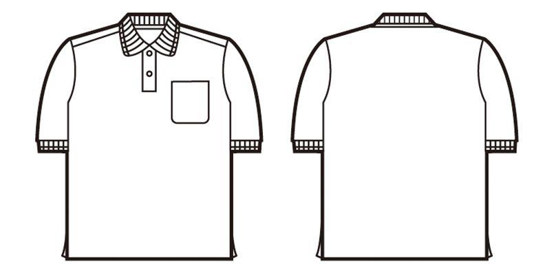 85274 自重堂 半袖ドライポロシャツ(胸ポケット有り) ハンガーイラスト・線画