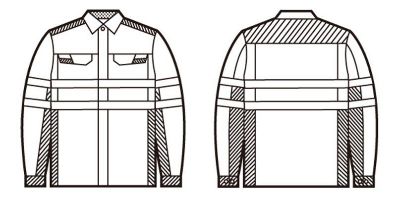 86704 自重堂 高視認性安全服 長袖シャツ ハンガーイラスト・線画