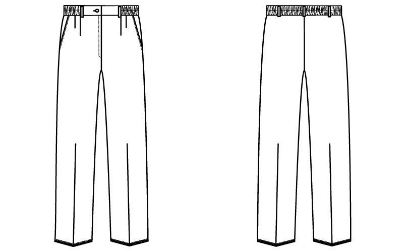 自重堂WHISEL WH10642 ツータックパンツ(女性用)ゆったり ウエスト総ゴム ハンガーイラスト・線画