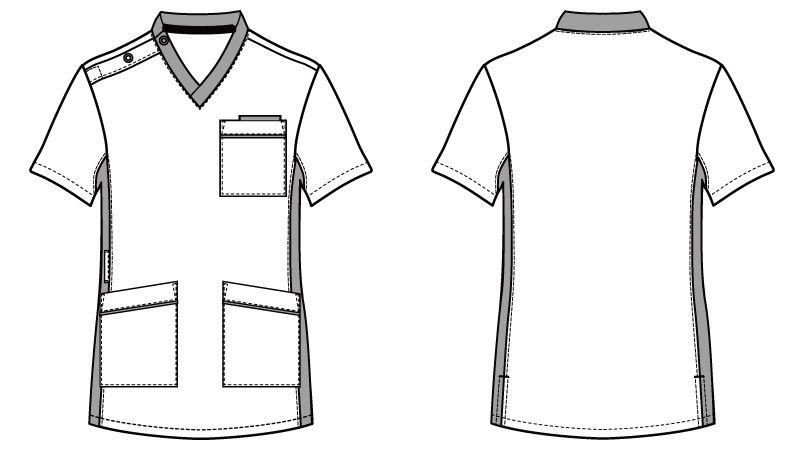 WH11685 自重堂WHISELスクラブ(男女兼用)衿と脇が配色 ハンガーイラスト・線画
