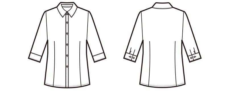 en joie(アンジョア) 01095 [通年]高めでシャープな襟元の七分袖ブラウス ハンガーイラスト・線画