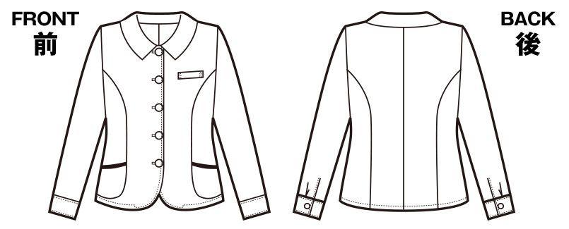 en joie(アンジョア) 26115 エアコン対策にぴったりなチェック柄の長袖オーバーブラウス ハンガーイラスト・線画