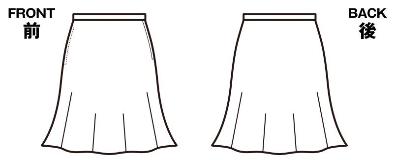 en joie(アンジョア) 56304 [春夏用]夏に最適な清涼素材のストレッチフレアースカート 無地 ハンガーイラスト・線画