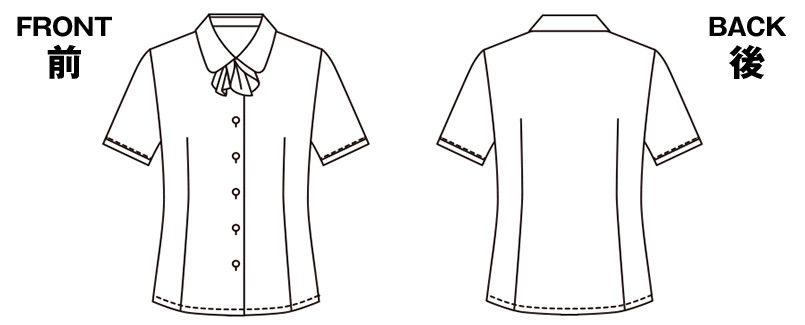 ESB444 enjoy オールシーズン気持ちいい!体温調節機能で快適な半袖ブラウス ハンガーイラスト・線画