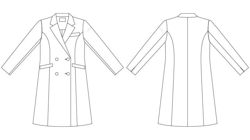 LW101 ローラアシュレイ 長袖ドクターコート(女性用) ハンガーイラスト・線画