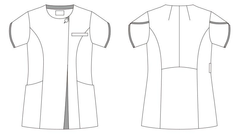 LW802 ローラアシュレイ 半袖ナースジャケット(女性用) ハンガーイラスト・線画