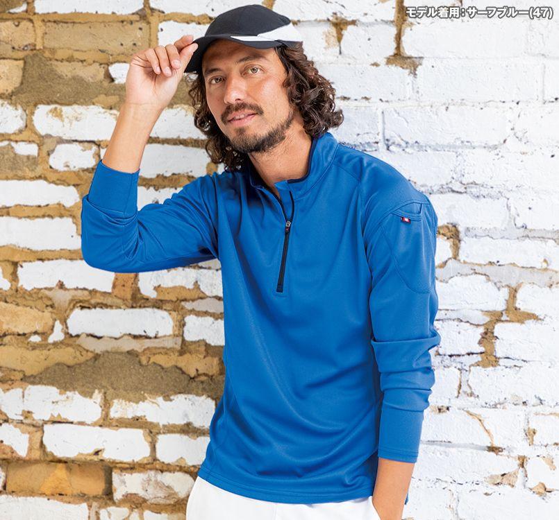 バートル バートル 413 ドライメッシュ長袖ジップシャツ[左袖ポケット付](男女兼用) 11-413 ドライメッシュ長袖ジップシャツ モデル着用雰囲気2