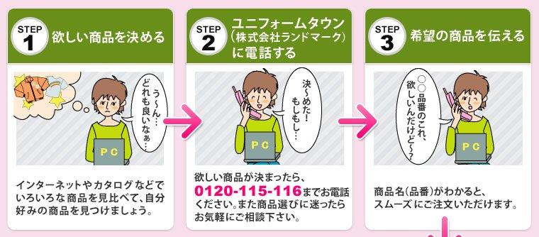 ステップ1、ほしい商品を決める。ステップ2、ユニフォームタウン(株式会社ランドマーク)に電話する。ステップ3、希望の商品を伝える